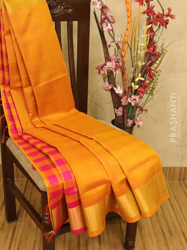 Silk cotton partly saree mustard yellow and pink plain body with checked pallu and blouse