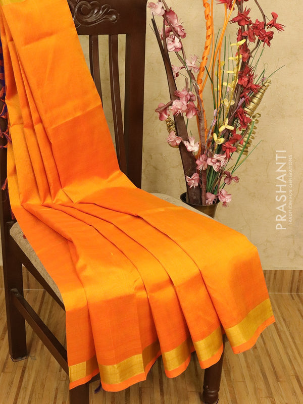 Silk cotton partly saree mango yellow and violet plain body with checked pallu and blouse