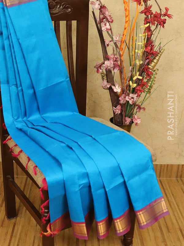Silk cotton saree cs blue and pink with plain body and zari woven border