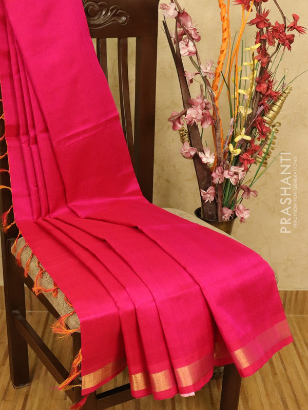 Silk cotton partly saree pink and mango yellow plain body with checked pallu and blouse