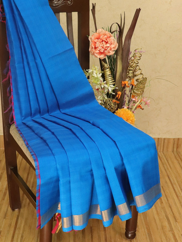 Silk cotton partly saree blue and pink plain body with checked pallu and blouse