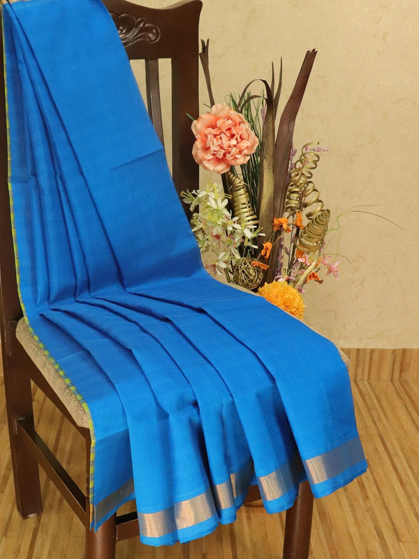 Silk cotton partly saree blue and yellow plain body with checked pallu and blouse