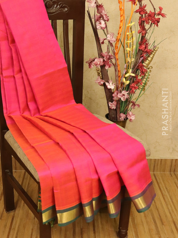Silk cotton partly saree pink and green with checked pallu and blouse with zari border
