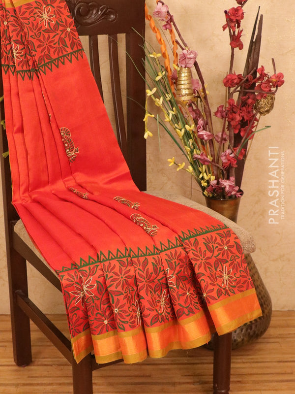 Silk cotton block printed saree dual shade of orange and green with embroidery work and zari border