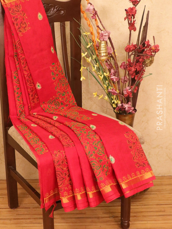 Silk cotton block printed saree red with embroidery work and zari border