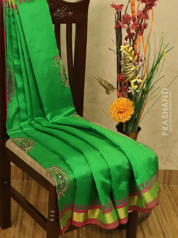Silk cotton block printed saree light green and pink with embroidery work and zari border