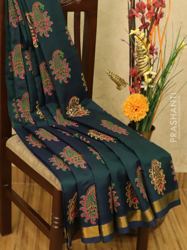 Silk cotton block printed saree peacock green and mustard with embroidery work and zari border