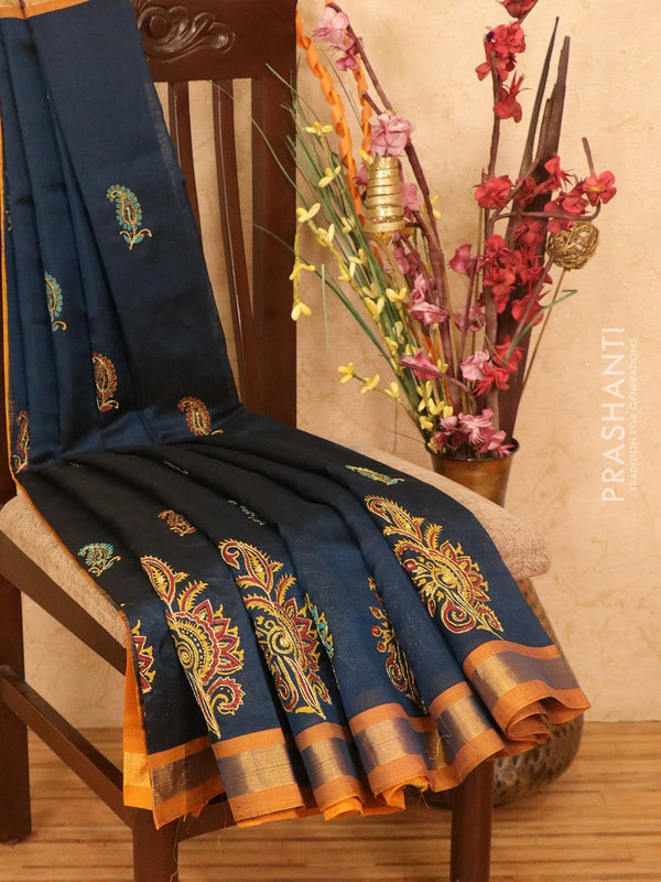 Silk cotton block printed saree peacock green and mustard yellow with embroidery work and zari border