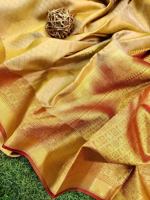 Pure kanchivaram silk saree beige and brown with allover self emboss and buttas with rich zari border