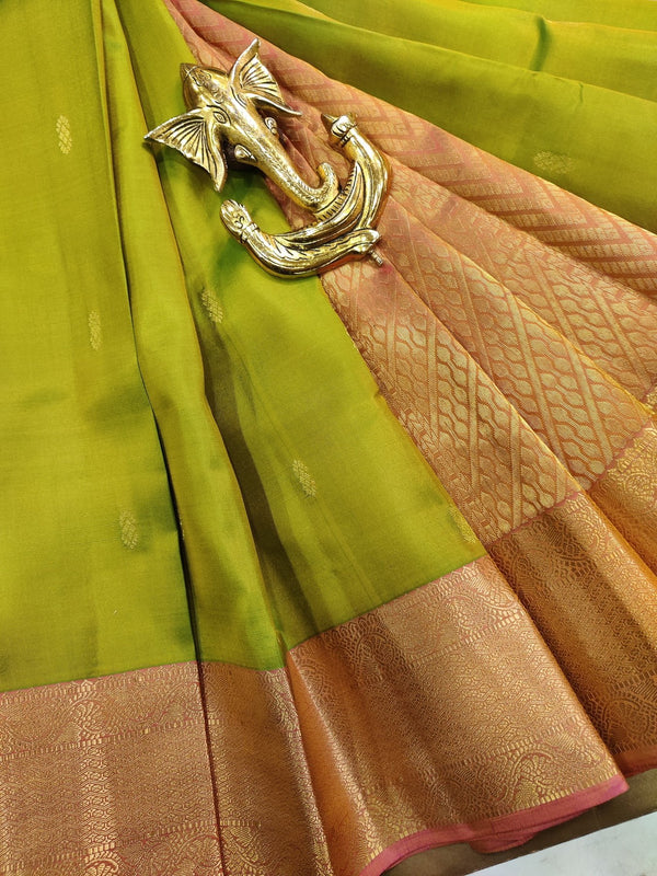Pure kanchivaram silk saree light green and pink with small zari buttas and rich zari border
