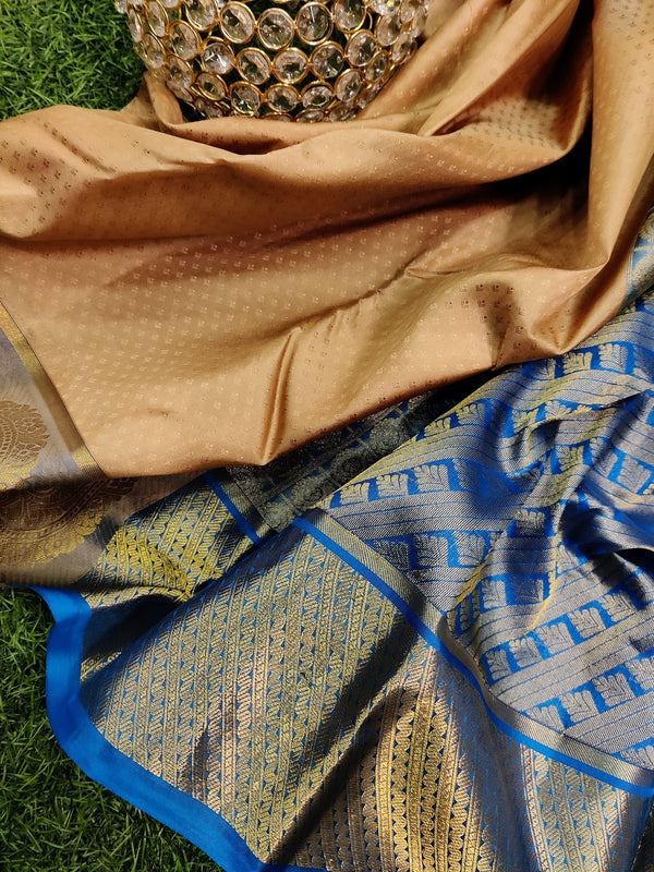 Pure kanchivaram silk saree beige and cs blue with allover self emboss and rich zari woven butta border