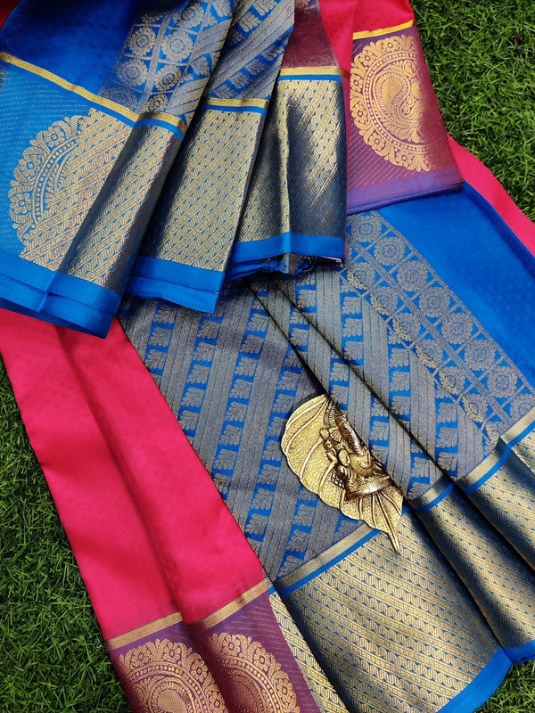 Pure kanchivaram silk saree pink and cs blue with allover self emboss and rich zari woven butta border