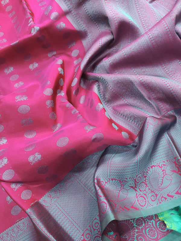 Pure kanchivaram silk saree dark pink and teal with allover thread buttas and thread woven border