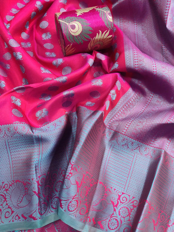 Pure kanchivaram silk saree pink and teal with allover thread buttas and thread woven border
