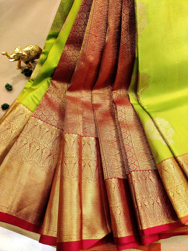 Pure kanchivaram silk saree green and red with self emboss and zari buttas with rich zari border