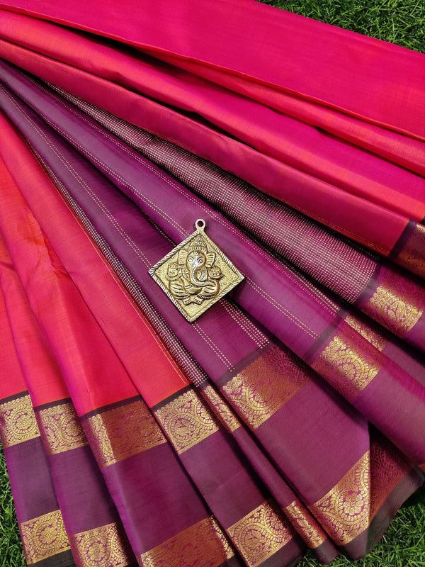 Pure kanchivaram silk saree dual shade of orange pink and green with plain body and zari woven rettapet border
