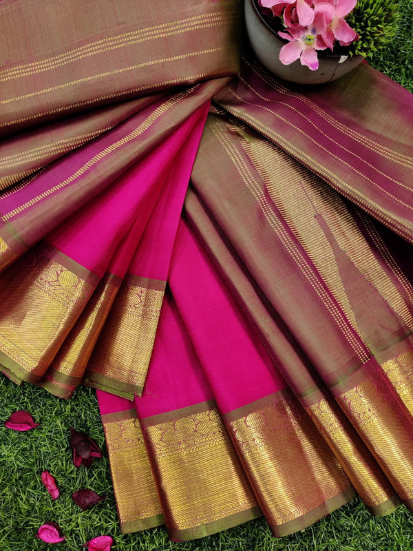 Pure kanchivaram silk saree pink and green with plain body and zari woven border