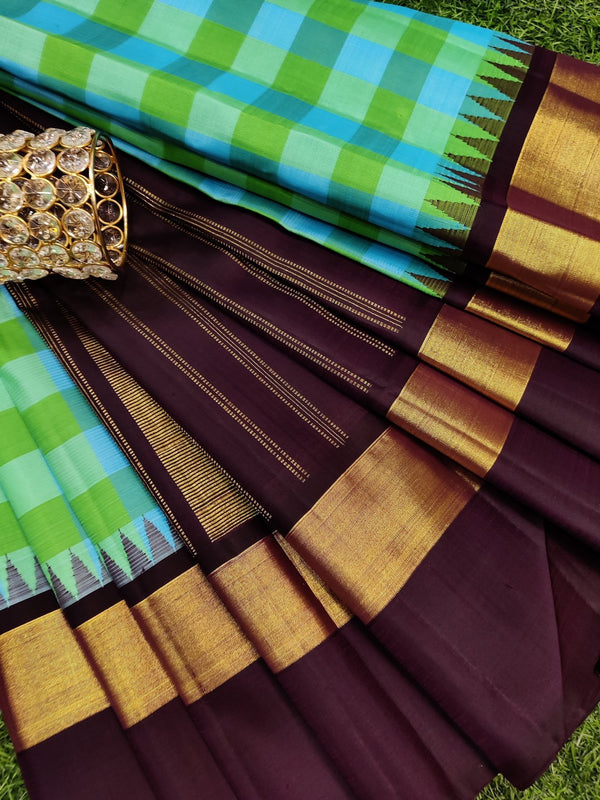 Pure kanchivaram silk saree light green blue and jamun checked pattern and thread woven temple with simple zari border