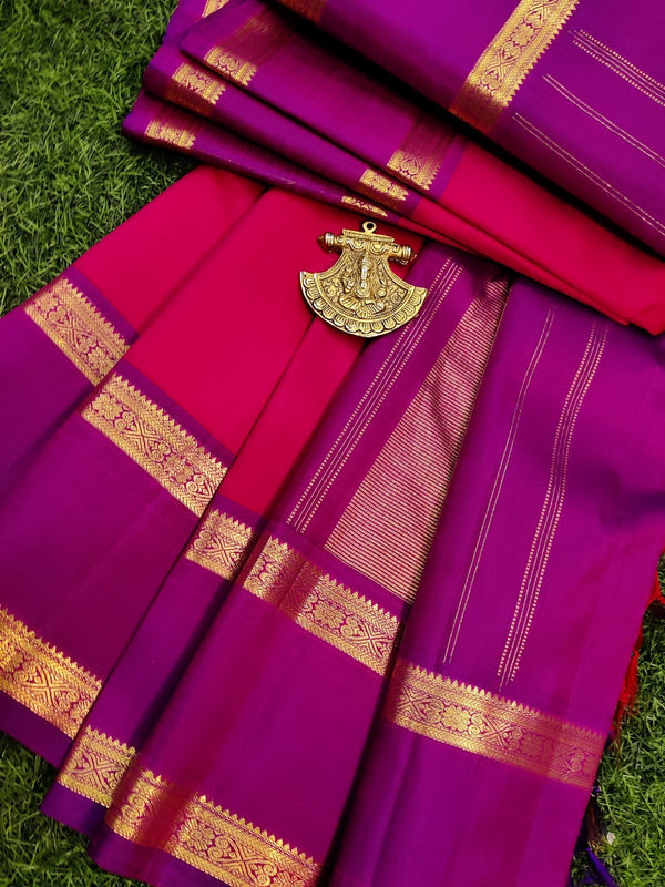 Pure kanchivaram silk saree pink and dual shade of violet with plain body and zari woven rettapet border