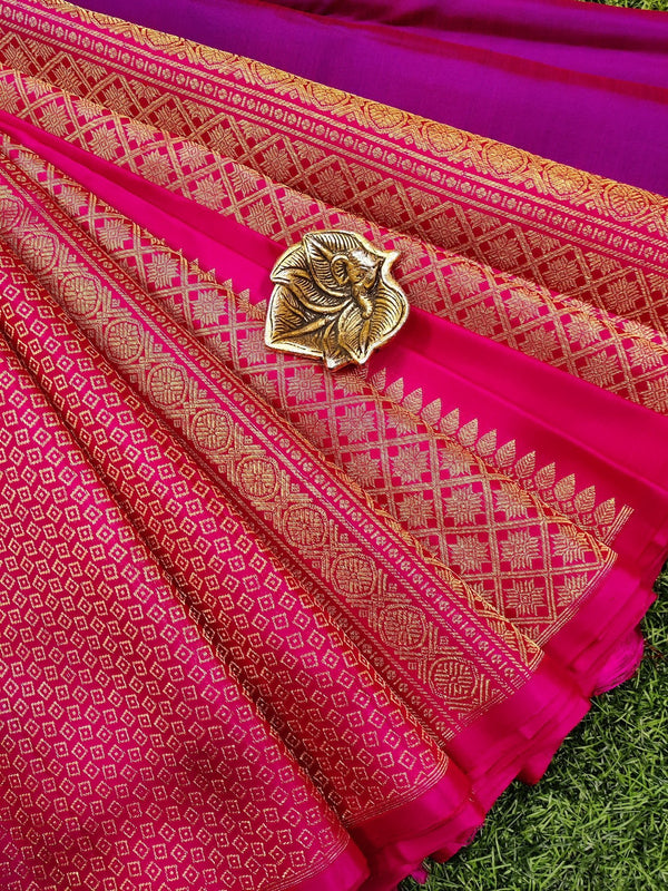 Pure kanchivaram silk saree dual shade of purple and pink with plain body and allover zari weaves in half and half style