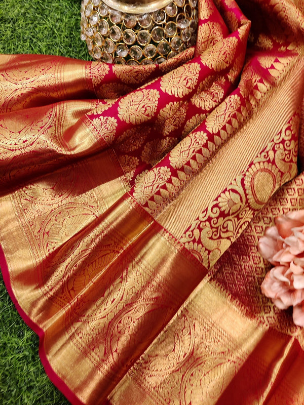 Pure kanchivaram silk saree dark pink with allover zari buttas and rich zari border