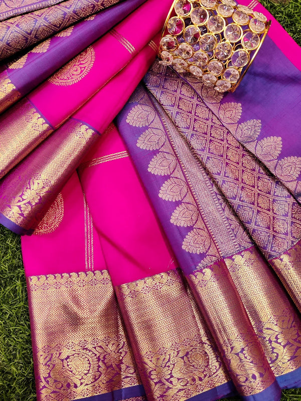 Pure kanchivaram silk saree pink and blue checked pattern with alternate buttas with zari woven border