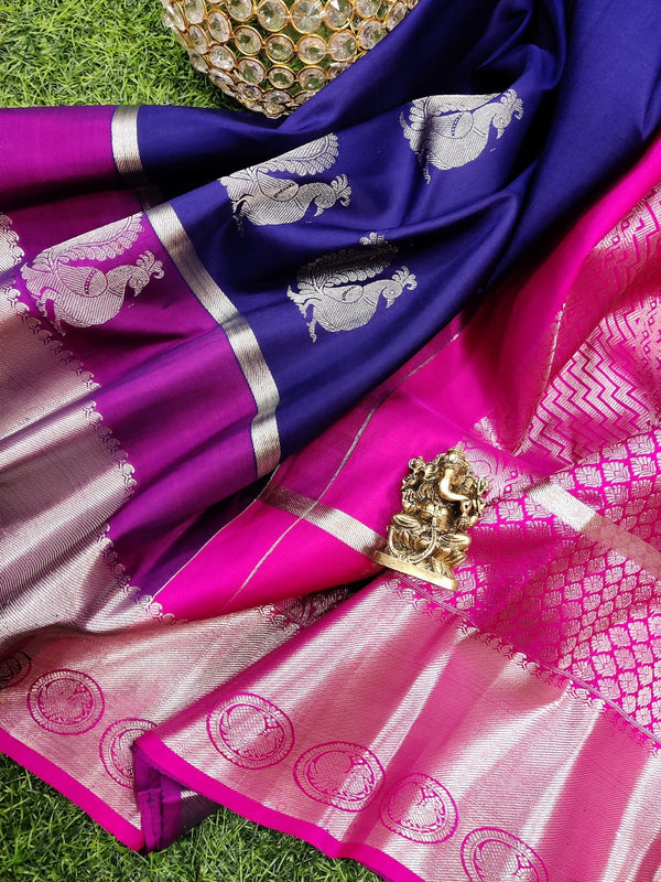Pure kanchivaram silk saree blue and magenta pink with silver zari woven buttas and rich zari border
