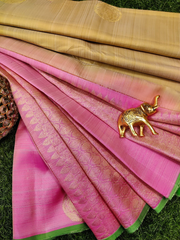 Pure kanchivaram silk saree pale yellow and light pink with zari woven buttas in half and half style