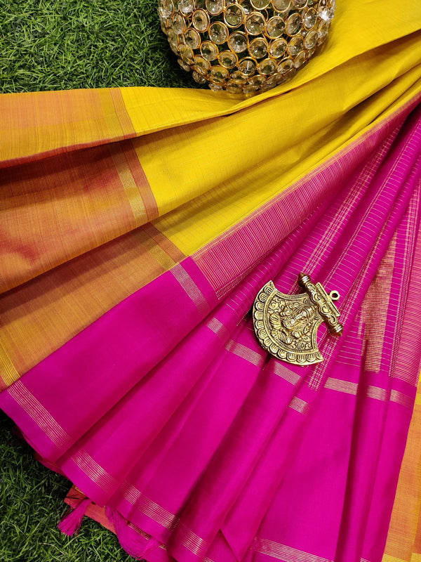 Pure kanchivaram silk saree yellow and pink with zari checks and simple zari woven rettapet border