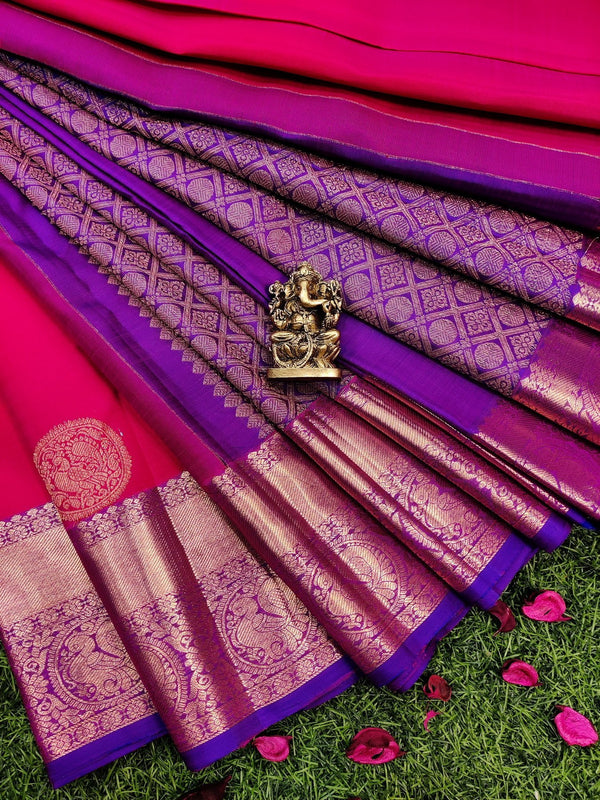 Pure kanchivaram silk saree pink and dual shade of blue with copper zari buttas and rich zari woven border