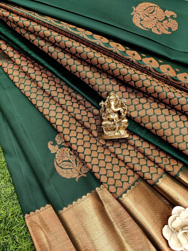Pure kanchivaram silk saree bottle green with copper zari buttas and rich zari woven border
