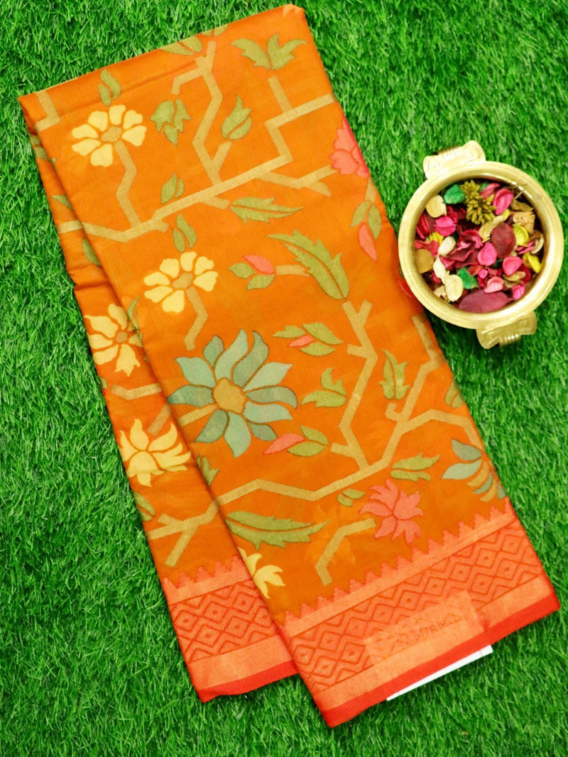 Brasso Saree Orange and Red with floral weaving