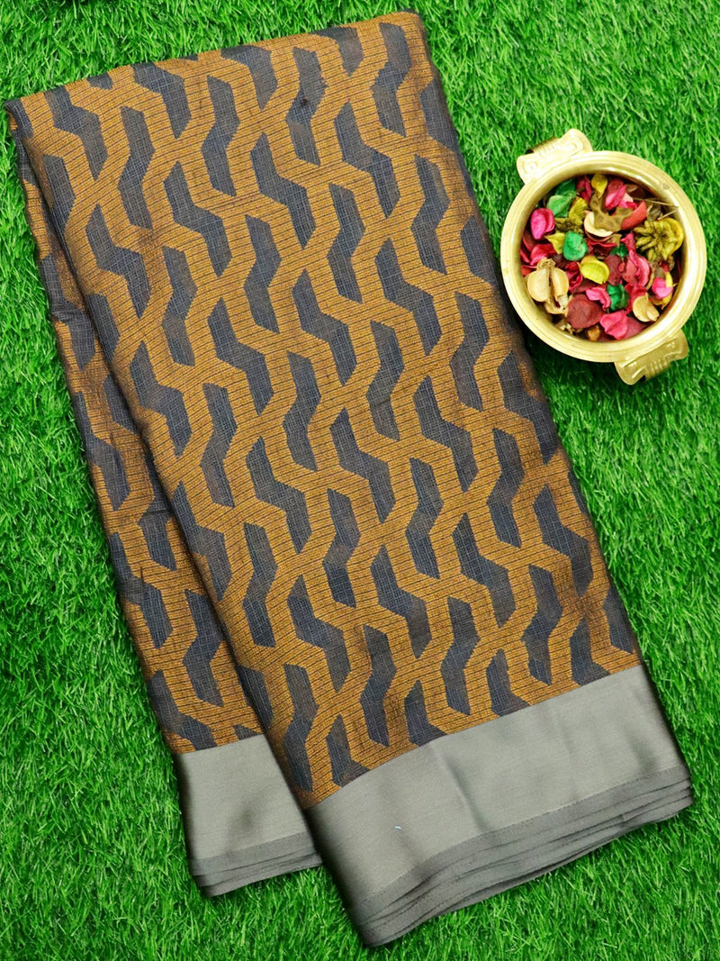 Brasso Kota Saree Elephant Grey with geometric weaves and Satin Border