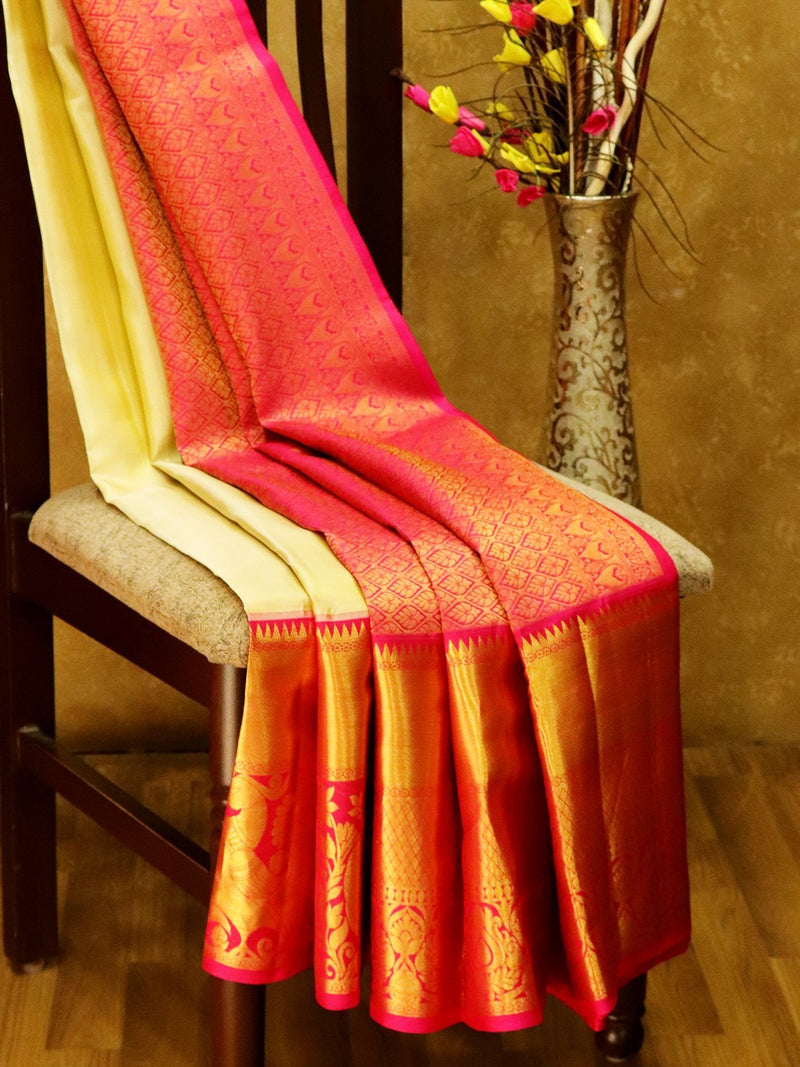Pure Kanjivaram Silk Saree off white and pink with rich long zari border in bavanji and peacock pattern