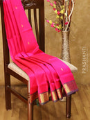Silk cotton saree pink and green with floral zari buttas and rich zari border