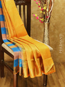 Silk cotton saree cs blue and mabgo yellow paalum pazhamum checks checks with zari buttas and rich zari border