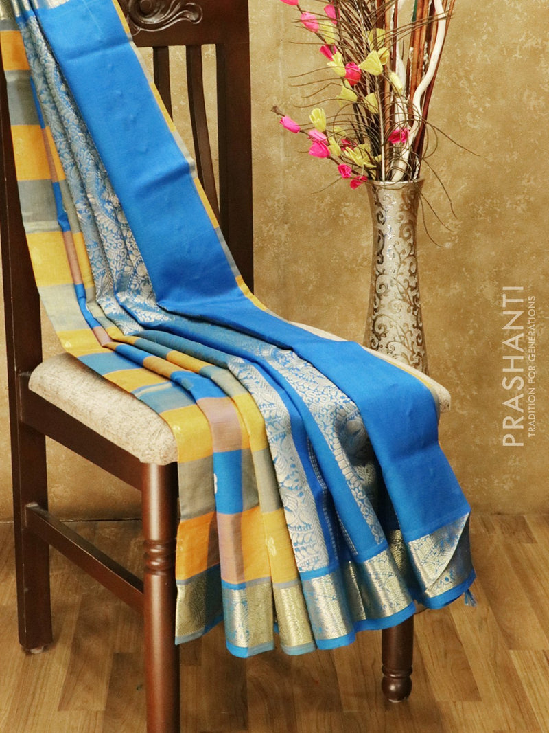 Silk cotton saree mango yellow and cs blue paalum pazhamum checks checks with paisley zari buttas and rich zari border