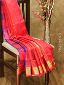 Silk cotton saree blue and tomato pink paalum pazhamum zari checks with temple zari buttas and rich zari border