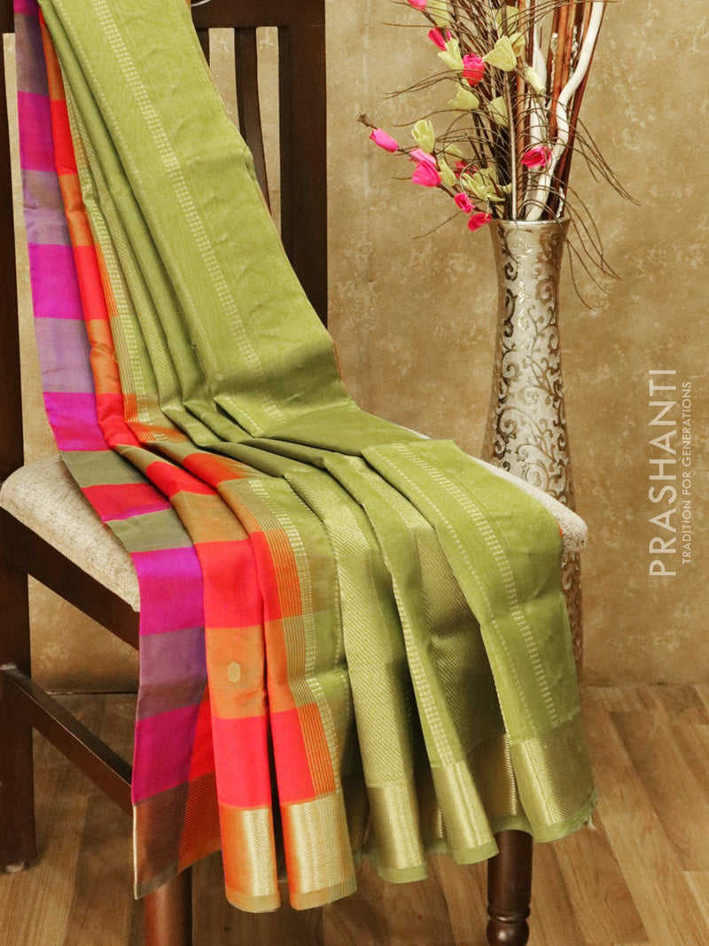 Silk cotton saree multi colour paalum pazhamum checks with zari buttas and rich zari border
