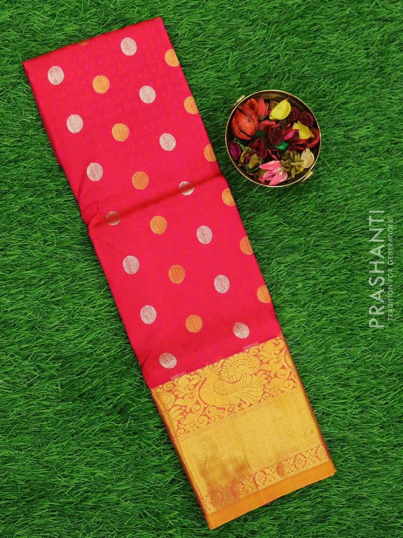 Pure silk pavadai material pink and dual shade of mustard with allover self emboss and zari buttas and rich border for 3 to 5 years
