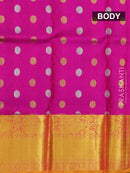 Pure silk pavadai material magenta pink and mustard orange with allover self emboss and zari buttas and rich border for 3 to 5 years