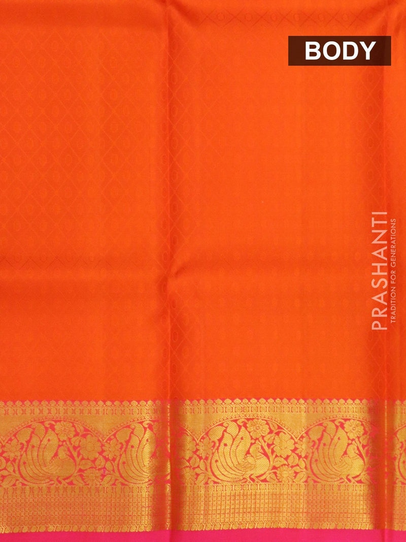 Pure silk pavadai material orange and pink with allover self emboss and golden zari peacock border for 6 to 10 years