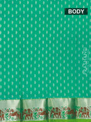 Pure silk pavadai material teal and green with zari buttas and elephant zari border for 0 to 2 years