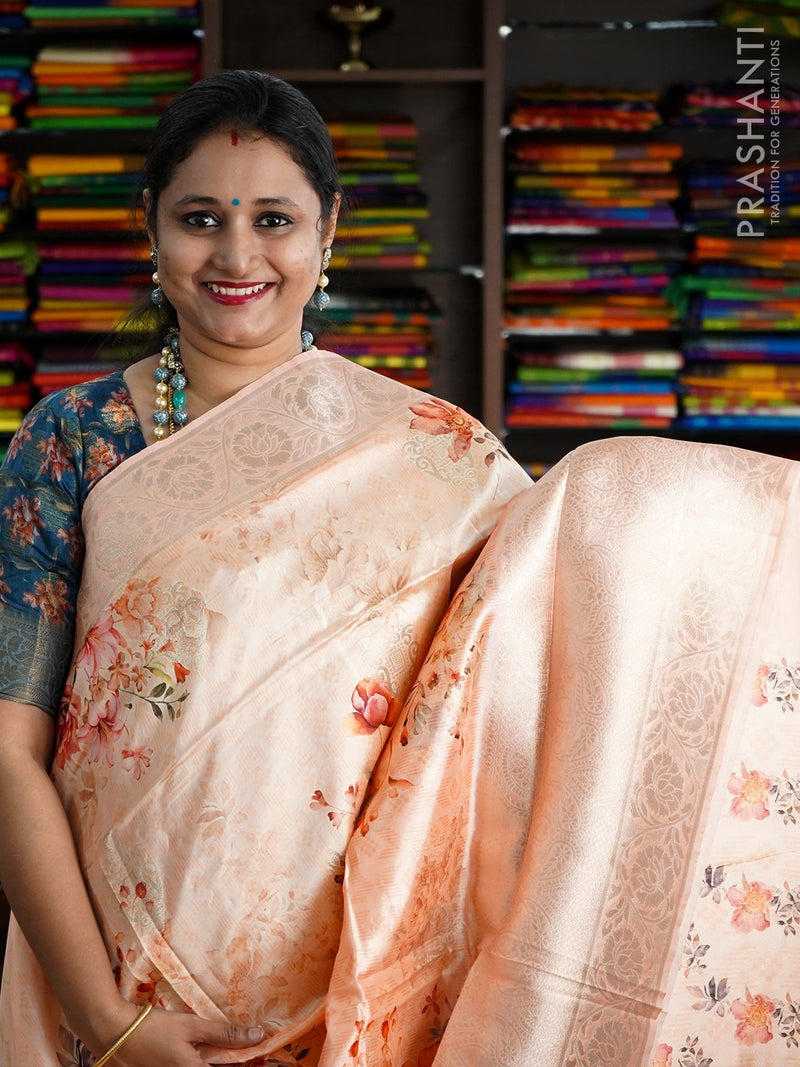 Semi Organza saree peach with banarasi style border and floral digital prints