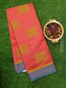 Semi raw silk saree pink and green with simple border and thread buttas