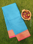 Banarasi kora saree cs blue and pink with self emboss and zari border