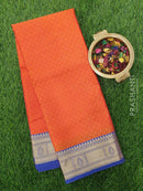 Banarasi kora saree orange and violet with self emboss and zari border