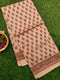 Chanderi Bagru Printed Saree beige floral prints with piping zari border
