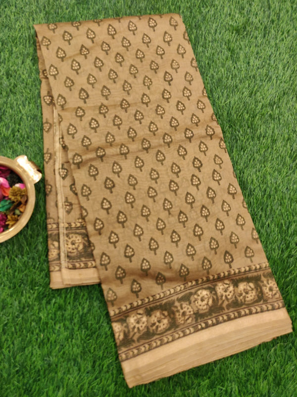 Chanderi Bagru Printed Saree chiku and gold all over prints with piping zari border