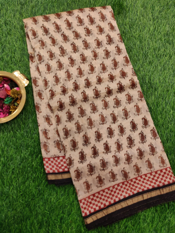Chanderi Bagru Printed Saree beige and black all over floral print with piping zari border